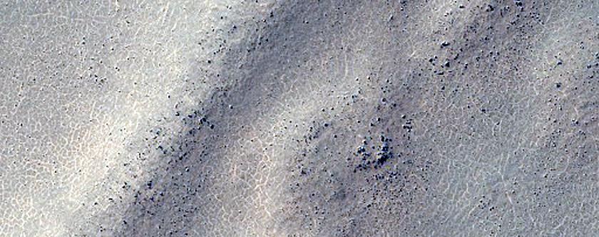 Parallel Ridges on Northeast Floor of Barnard Crater