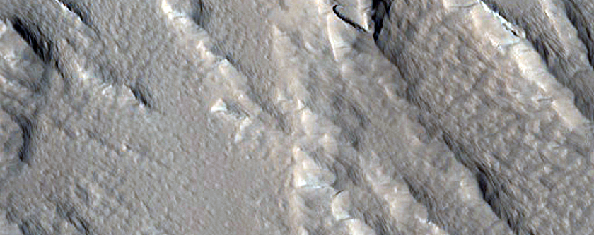 Features on Southeastern Olympus Mons
