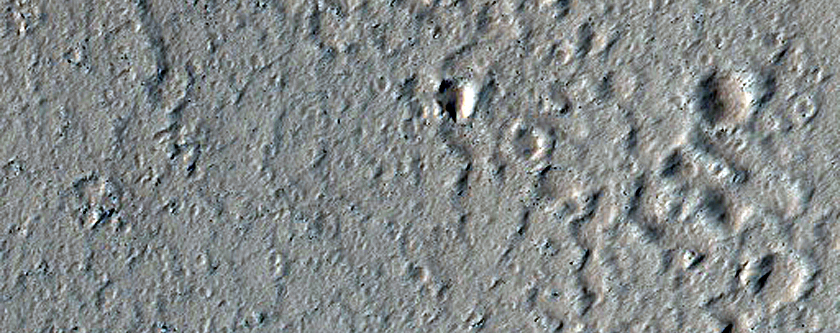 Southwest Rim of Crater with Channels