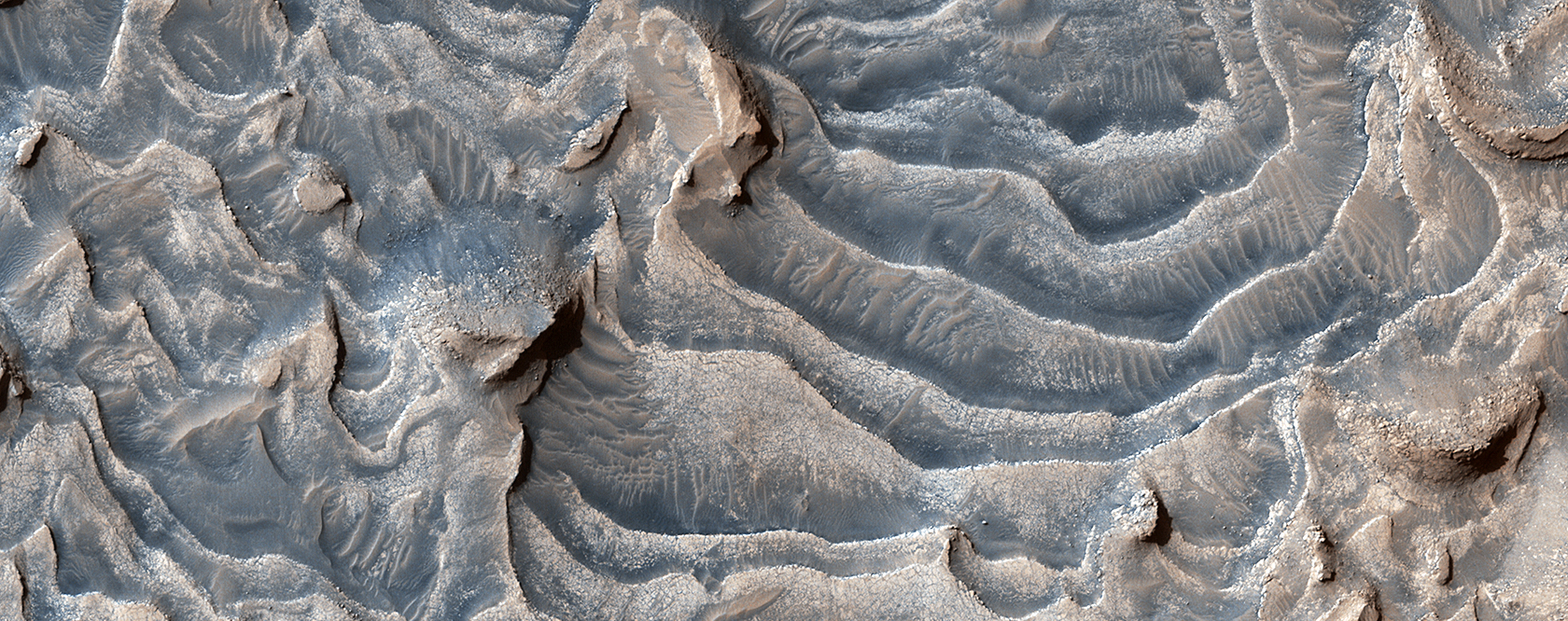 Layers Blanket a Crater Floor