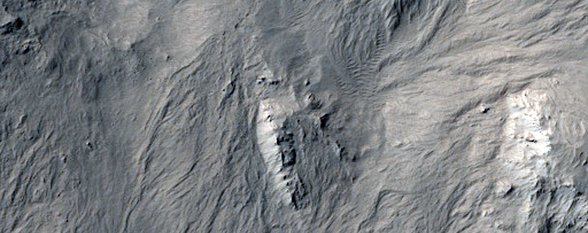 Flow Features inside Eastern Floor of Crater South of Burton Crater