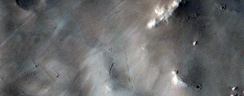 Complex Crater Interior near Elysium Mons
