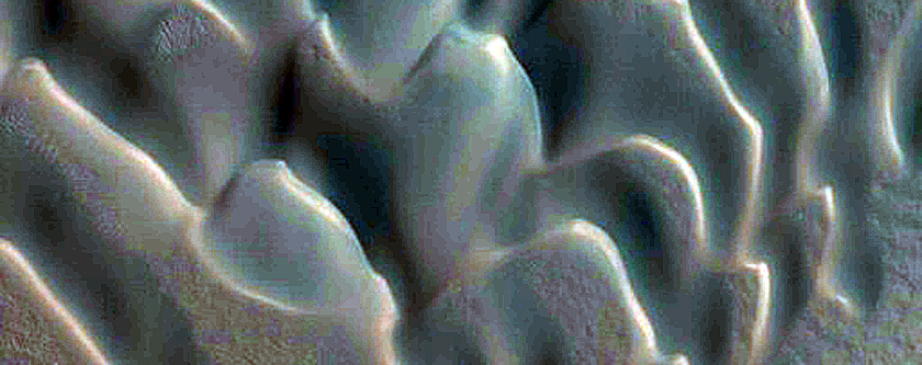 Dunes in Polar Crater with Summer Ice
