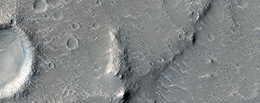 Circular Depression and Outlet in Hebrus Valles