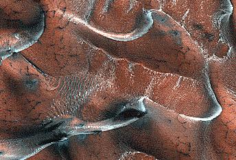 Dunas de arena helada en Marte