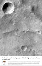Very Fresh Impact Crater Superposing a Wrinkle Ridge in Hesperia Planum