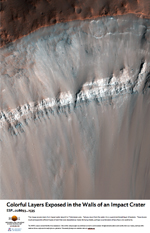 Colorful Layers Exposed in the Walls of an Impact Crater