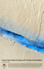 Fissure near Cerberus Fossae with Tectonic Morphologies