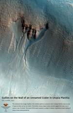 Gullies on the Wall of an Unnamed Crater in Utopia Planitia