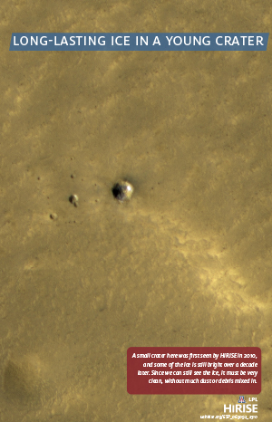 Long-lasting Ice in a Young Crater