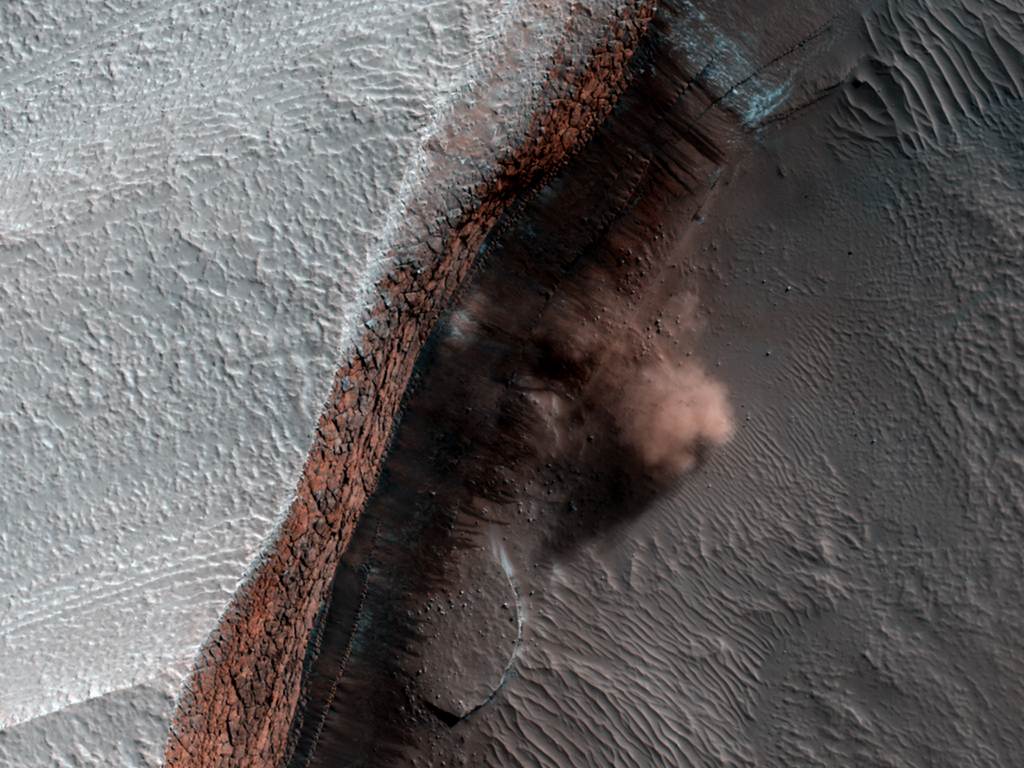 Avalanche Clouds on Mars