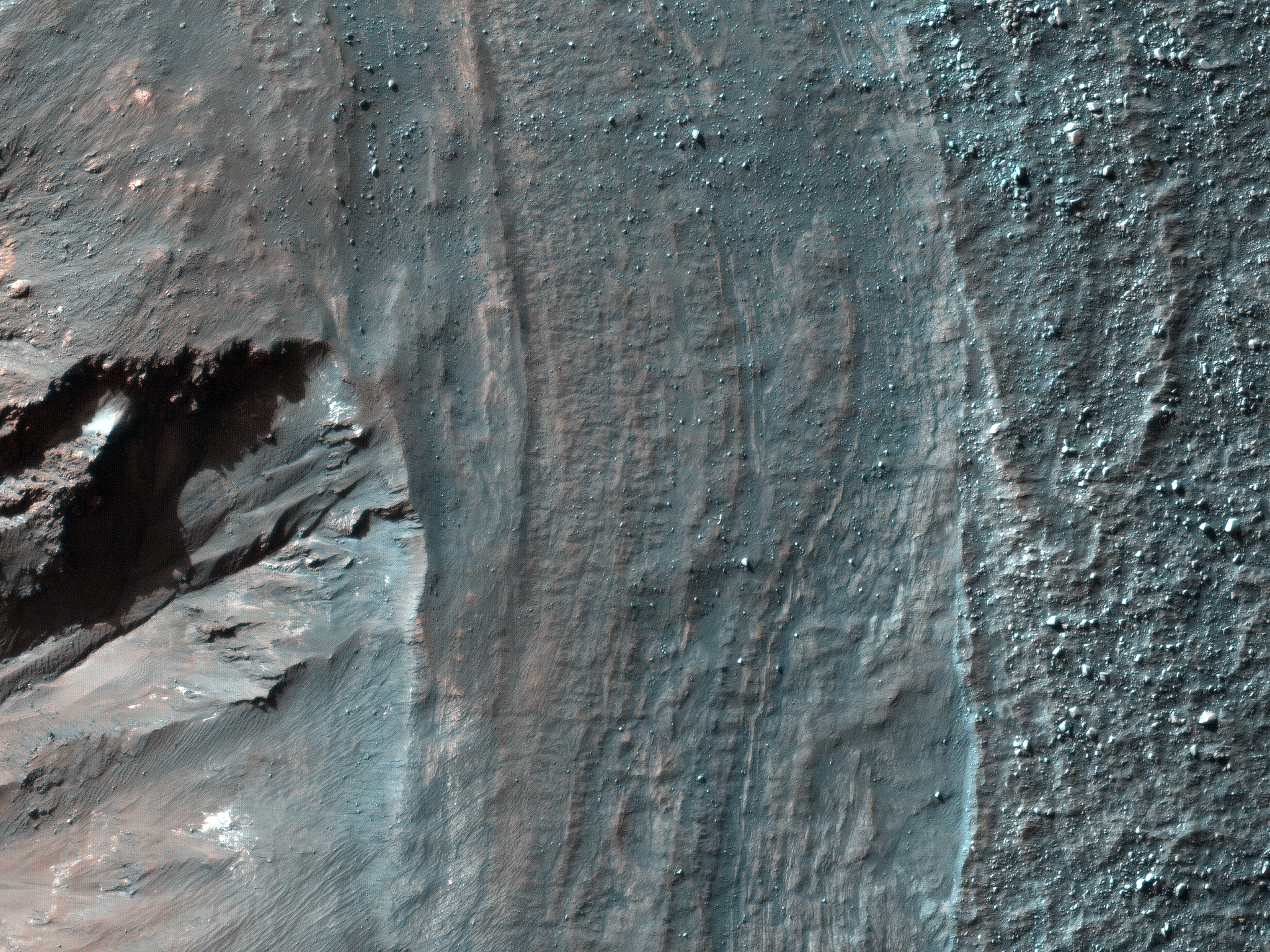 Crater Rim Layers, Rubble, And Gullies (ESP