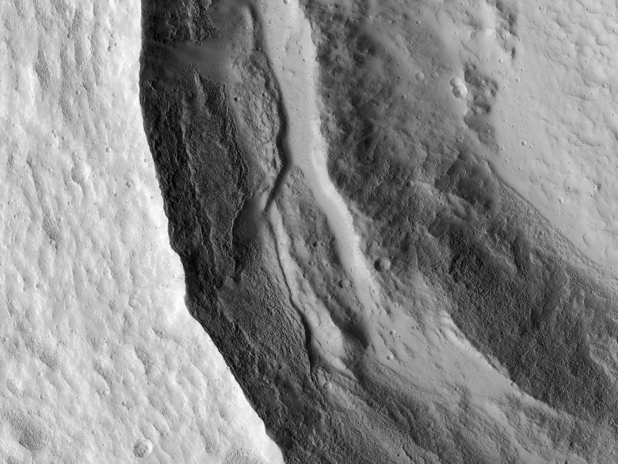 Slumping Terraces On A Crater Wall (ESP_035702_2270